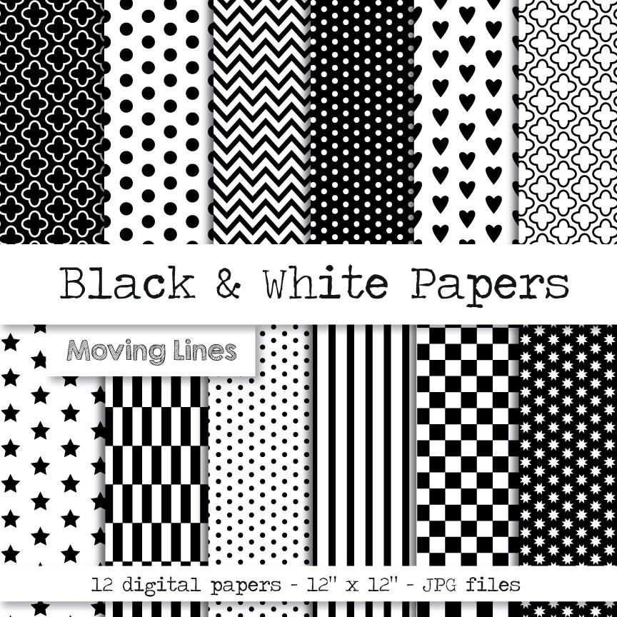 Schwarz und weiß Digital Paper Pack Geschenkpapier Origami