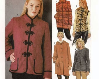An Easy Sew Vest, Jacket and Coat w/ Closure, Pocket & Collar/Hood Variations Pattern for Women: Uncut - Sizes 6-8-10-12 ~ Simplicity 5348