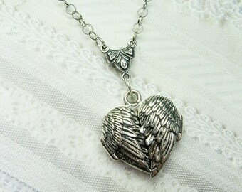 Silver Locket Necklace - Silver HEART LOCKET - Guardian Angel - Angel Wing Locket - Valentine's Day Wedding Birthday Bridesmaids Gift