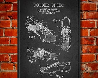 Soccer Shoes Patent, Canvas Print,  Wall Art, Home Decor, Gift Idea