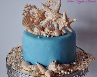 New Fondant Seashells Set with Corals for Beach Cake