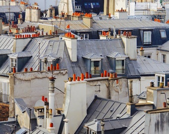 Parisian rooftop view, fine art paris photography by Julia Willard, travel photo, wall decor, Falling Off Bicycles