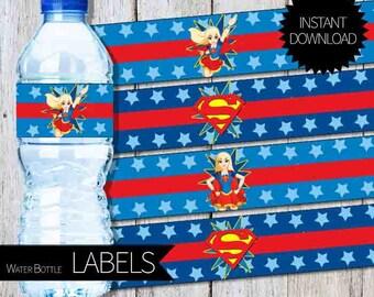 Super Girl Birthday Party PRINTABLE Water Bottle Labels- Instant Download   DC SuperHero Girls  SuperGirl