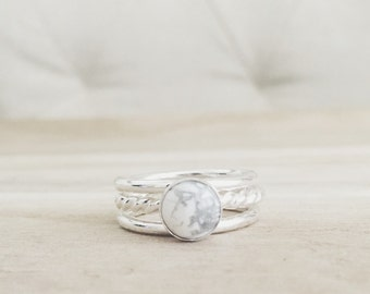 White howlite stacking set, white turquoise ring, sterling silver ring, rings, stacking ring, silver rings, howlite, white marble