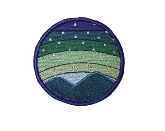 Mountain Landscape Sunrise with Stars Iron On Patch