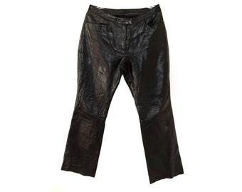 Vintage women pants real leather black