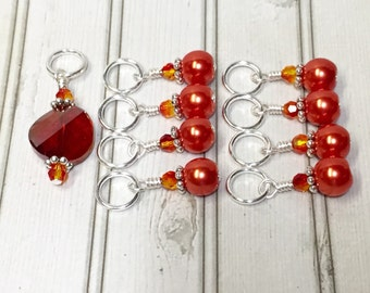 Orange Stitch Markers, Snag Free Gift for Knitters, Knitting Tools