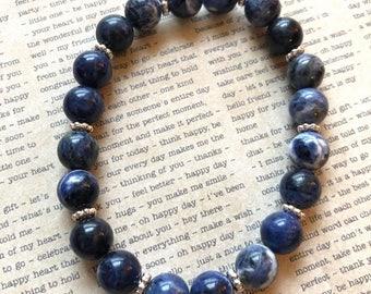Sodalite Bracelet, Wrist Mala, Yoga Jewelry, Mantra, Stack, Crystal Healing, Yoga Bracelet, Mala Bracelet