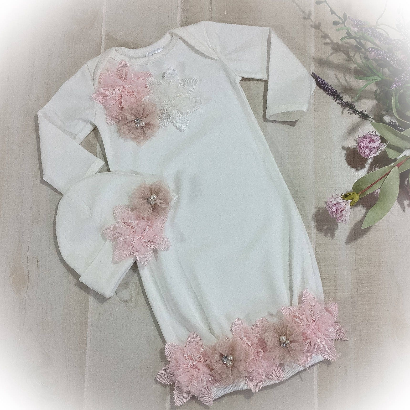 Newborn Girl Coming Home Outfit Newborn Gown Ivory and Pink