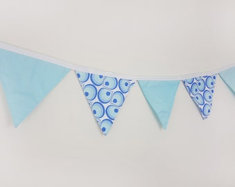 Cotton wall banner Blue White Pattern Wall decor Nursery baby bunting Fabric garland Wedding garland/Wall art/Wall hanging/Banners