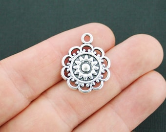 3 Lacey Flower Charms Antique Silver Tone - SC3747