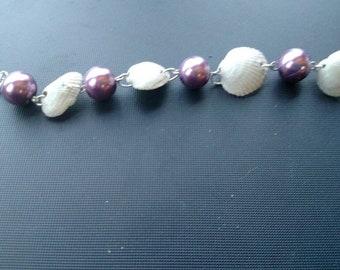 Purple pearl and seashell bracelet