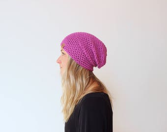 Rose Pink - ACRYLIC Soft Light Weight Slouchy Beanie