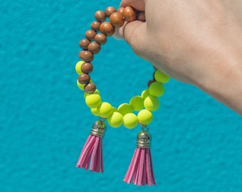 Neon Yellow Beaded Tassel Bracelet, Wooden Beads, Pink Tassel