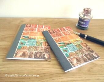 Bird Lover Stationery Gift Set | Postage Stamp Sunset, A6 Card + Notebook | Abstract Landscape Travel Journal | Vintage Postal Art Print Set