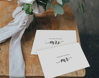 Wedding Card Bride & Groom, I Can't Wait To Be Your Mr. I Can't Wait To Be Your Mrs., To My Groom On Our Wedding Day To My Bride 2 Cards, K3