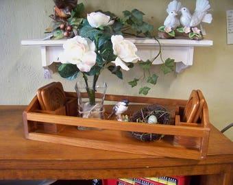 Dolphin Teakwood Tray with Coasters Serving Tray Barware Wood Tray