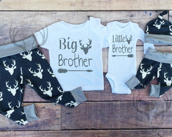 Big Brother Little Brother Outfits, Baby Boy Coming Home Outfit Set,Country Outfits, Boys Navy Blue Deer,Southern, Baby Boys Deer Outfits,