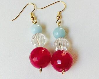 Chunky Gemstone Drop Statement Earrings, Hypoallergenic, Gold Earrings, Women's Jewelry, Trending Items, Gift Ideas