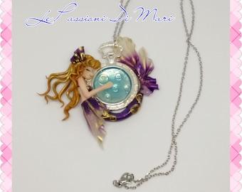 Mermaid bezel necklace handmade