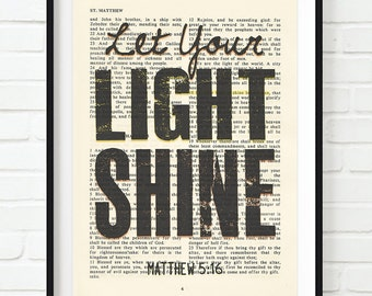 Vintage Bible page verse scripture Let your Light Shine Matthew 5:16 ART PRINT, UNFRAMED, dictionary, Wedding gift, christian gift