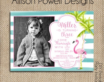 Photo Pink Flamingo Birthday, Tropical Party,  Birthday Party Invitation - Print your own
