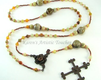 Rustic Flower Jade and Carved Agate Copper Beaded Rosary Necklace