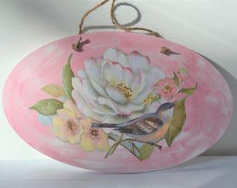 DECOUPAGE WALL ART Pink White Floral Blue Bird Decoupaged Wood Plaque Home Wall Decor