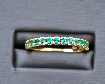 EMERALD YELLOW GOLD wedding band  in double share prong set, Chatham emerald wedding gold ring, wedding ring, emerald gold ring