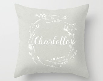 Personalized Grey Floral Wreath Throw Pillow, baby name pillow, personalized pillow, grey nursery pillow, custom name pillow