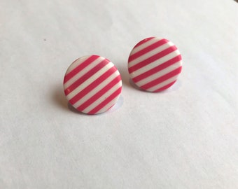 Retro 1980s Pink Diagonal Strip Button Earrings