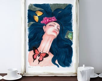 Woman Butterfly Print, Surreal Painting Print, Portrait Fantasy Art, Woman Flower Print, Woman Fantasy Art, Butterfly Painting, Blue Decor