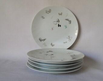"""Mid Century Modern Noritake Japan Atomic Butterfly China Six pcs 8.25"""" Plates"""