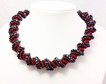 Red and black cellini spiral necklace