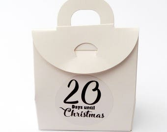 24 x diy advent calendar bag boxes printed stickers to fill yourself- christmas countdown