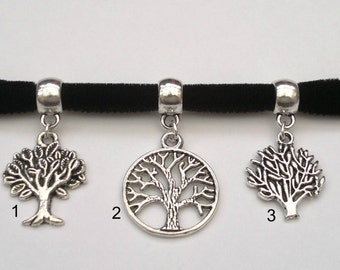 CHOOSE A TREE Of Life Charm 10mm BLACK Velvet Ribbon Choker cf.. or choose another colour velvet, handmade to order :)