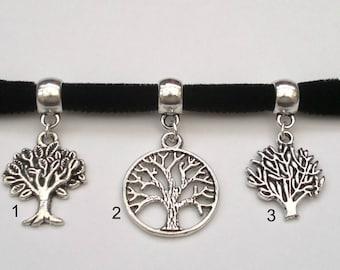 CHOOSE A TREE Of Life Charm 10mm BLACK Velvet Ribbon Choker cf.. or choose another colour velvet, handmade to order :)