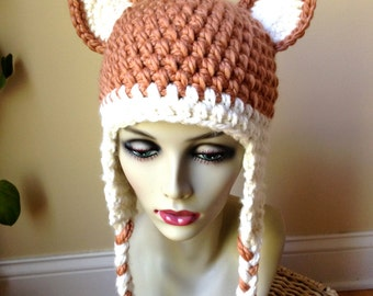 Woman Hat, Crochet Fox Hat, Women Hat Animal, Chunky, Ear Flaps, Costume, Gifts for Her JE410BF6