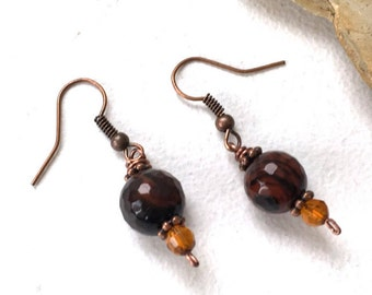 Agate earrings, brown agate earrings, brown earrings, copper earrings, gemstone earrings, crystal healing earrings, boho jewelry
