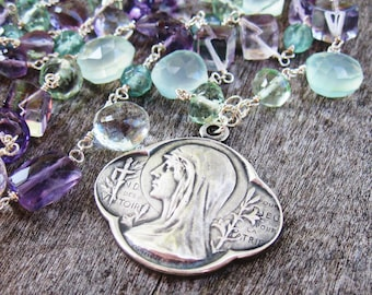 Saint Mary, Fluorite, Amethyst, Apatite and Chalcedony Necklace, Antique Religious Medal, Art Nouveau Sterling Silver, Catholic Roty Medal