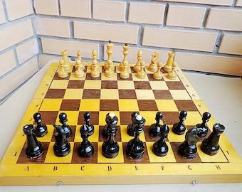 Soviet chess set vintage, retro russian wooden chess, big chess board USSR