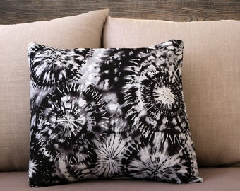 Tie Dye Pillow Case - Black and White Pillow Cover - Fireworks Pillow Case - Decorative Pillow Case - Polyester Cover - Throw Pillow Cover