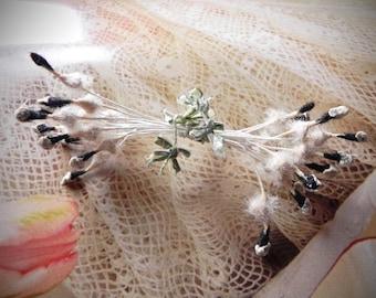 Antique Rare 1920's Black and White Stamen, European Stamen, Vintage Floral Stamen, Millinery Supply,French Ribbonwork