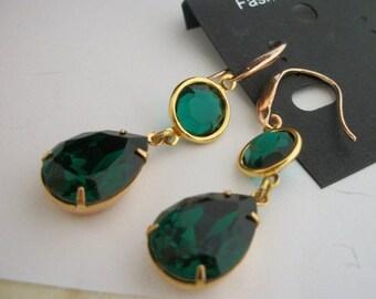 Designer Handmade Swarovski Channel Emerald Drop Earrings 18x13