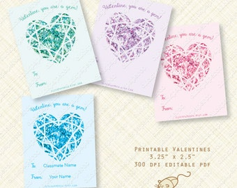 Heart Gem Printable Valentine Cards or Labels valentines day card jewel sapphire emerald amethyst editable text digital pdf instant download