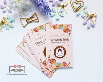 20 Scratch Off Bridal Shower Game Cards, Bachelorette Party Games, Cheers to the Bride Scratch Off, Wedding Scratch-Off Sticker Card Game