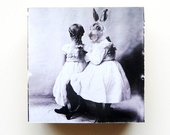 Altered Art Collage Sisters Rabbit Surreal Home Decor