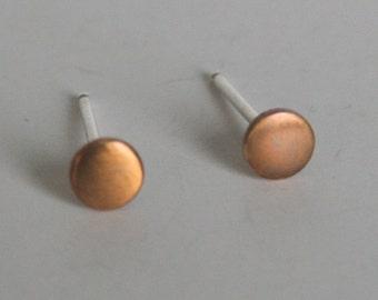4mm, Antiqued Small Brass Dot Earrings, Dot Earrings, Post Earrings, Stud Earrings, Brass Dots, Brass Earrings, Patina, Rustic Metal Earring