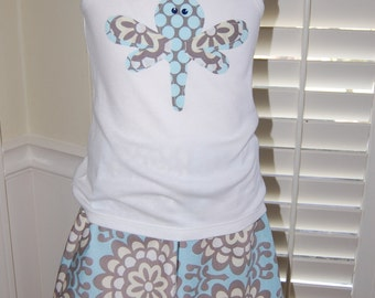 Amy Butler Lotus Fabric Appliqued Dragonfly Skirt Set