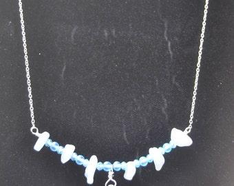 Silver Aries Zodiac Necklace with Aquamarine & Quartz stone